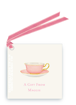 Pink Tea Cup gift tags and favor tags with ribbon