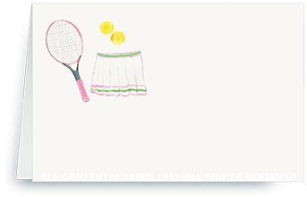 Pink Tennis Racket with Skirt -  Place Cards