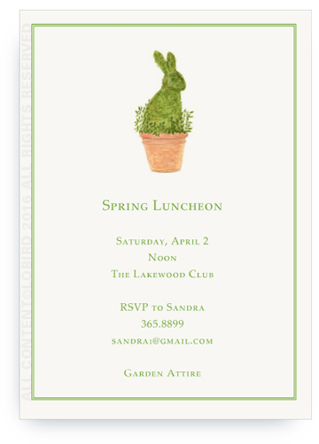 Rabbit Topiary - invitation