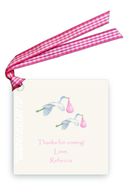 Twin Flying Pink Storks - Gift Tags
