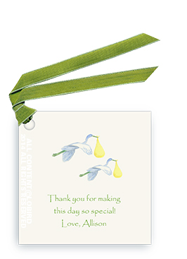Twin Flying Yellow Storks - Gift tags