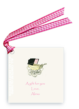 Vintage baby Carriage - Pink - Gift Tags
