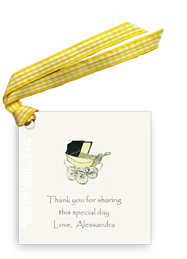 Vintage Baby Carriage - Yellow - Gift Tags