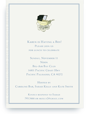 Vintage Blue baby carriage - Invitations