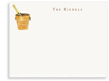 Vintage champagne ice bucket - Flat Note Cards