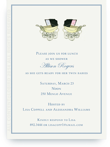 Vintage pink and blue  baby carriages - twins - Invitations