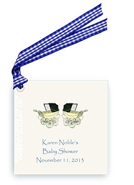 Vintage Twin Baby Carriages - Blue - Gift Tags
