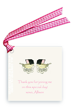 Vintage Twin Baby Carriages - Pink - Gift Tags