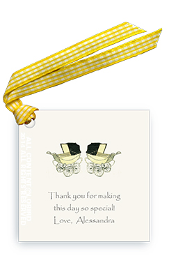 Vintage Twin Baby Carriages - Yellow - Gift Tags