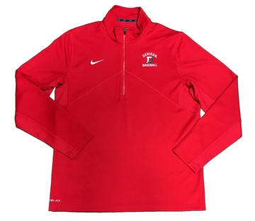 Denison Nike Baseball Training 1/2 Zip Red