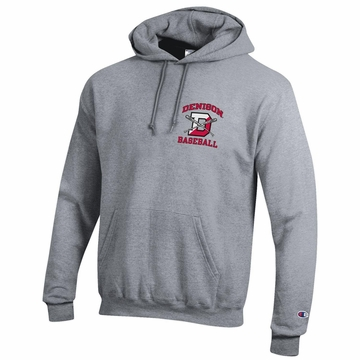Denison Champion Baseball Powerblend Fleece Hoodie Heather Gray