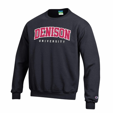 Denison Champion Embroidered Powerblend Fleece Crew Black