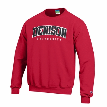 Denison Champion Embroidered Powerblend Fleece Crew Scarlet