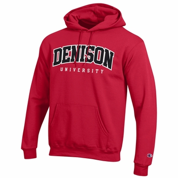 Denison Champion Embroidered Powerblend Fleece Hoodie Scarlet