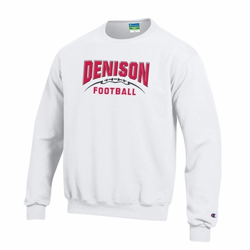 Denison Champion Football Powerblend Fleece Crew White