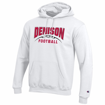 Denison Champion Football Powerblend Fleece Hoodie White
