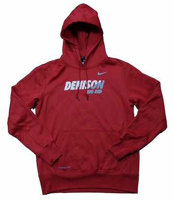 Denison Nike KO Fleece Hoody Red/ White Medium