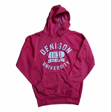 Denison MV Retro Heathered Hoodie Classic Red