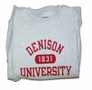 Denison University Double Reverse Weave 1831 Crew Heather Grey