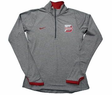 Denison Womens Nike 1/2 Zip Element Dark Heather/ Red