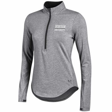 Denison Womens Under Armour SMU Charged Cotton 1/4 Zip True Grey Heather/ Black