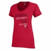 Denison Womens Champion V-Neck Short Sleeve Tee Scarlet