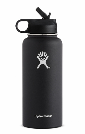 Hydro Flask 32oz Wide Mouth w/ Straw Cap Black