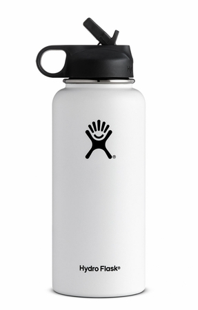 Hydro Flask 32oz Wide Mouth w/ Straw Cap White