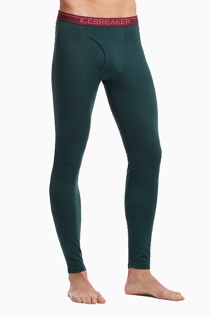Icebreaker Mens Oasis Leggings w/ Fly Nori Heather/ Redwood