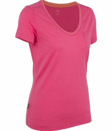 Icebreaker Womens Harmony Short Sleeve V Shocking (Spring 2014)