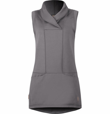 Indygena Womens Tapa Tunic Vest Grey Steel