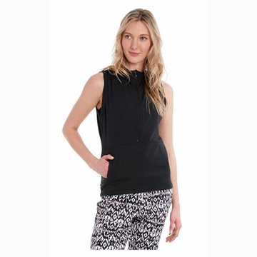 Lole Womens Echo Sleeveless Hoodie Black (Close Out)