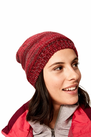Lole Womens Reverse Knit Slouch Hat Dark Berry