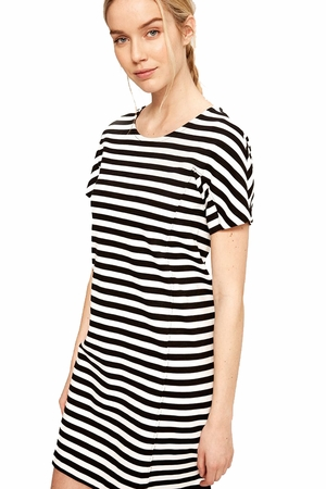 Lole Womens Selah Dress Black White Stripes