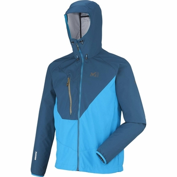 Millet Mens Elevation Windstopper Light Hoodie Majolica Blue/ Electric Blue