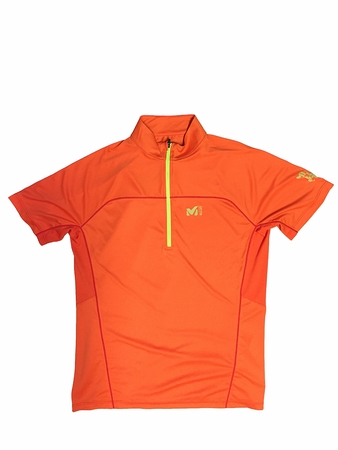 Millet Mens LTK Intense Zip Short Sleeve Bright Orange