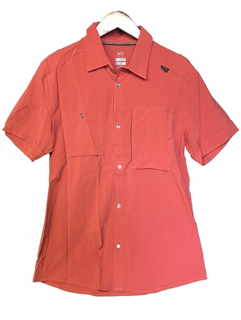 Millet Mens Pocket Haras Stretch Short Sleeve Shirt Pompeian Red