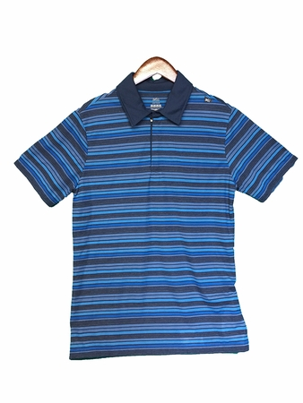 Millet Mens Striped Zip Polo T Shirt Majolica Blue