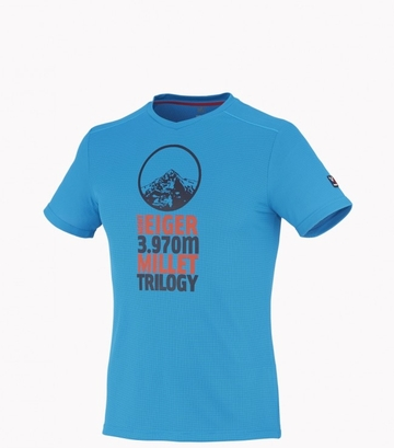 Millet Mens Trilogy Grid T Shirt SS Light Sky