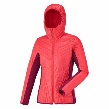 Millet Womens Dual Belay Hybrid Right Hoodie Hibiscus/ Velvet Red