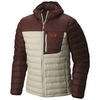 Mountain Hardwear Mens Dynotherm Down Hooded Jacket Fossil/ Redwood