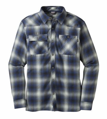 Outdoor Research Mens Feedback Flannel Shirt Black/ Baltic  (close out)