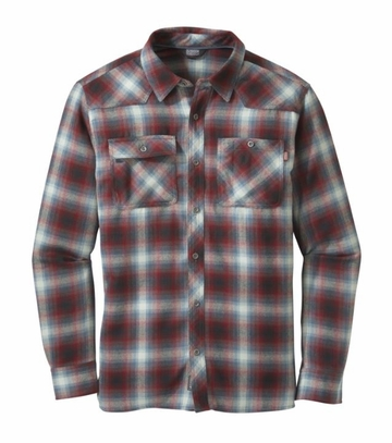 Outdoor Research Mens Feedback Flannel Shirt Black/ Redwood