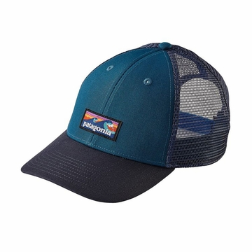 Patagonia Board Short Label LoPro Trucker Hat Big Sur Blue