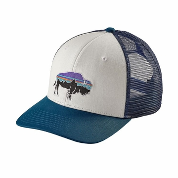 Patagonia Fitz Roy Bison Trucker Hat White w/ Big Sur Blue