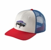 Patagonia Fitz Roy Bison Trucker Hat White w/ Fire