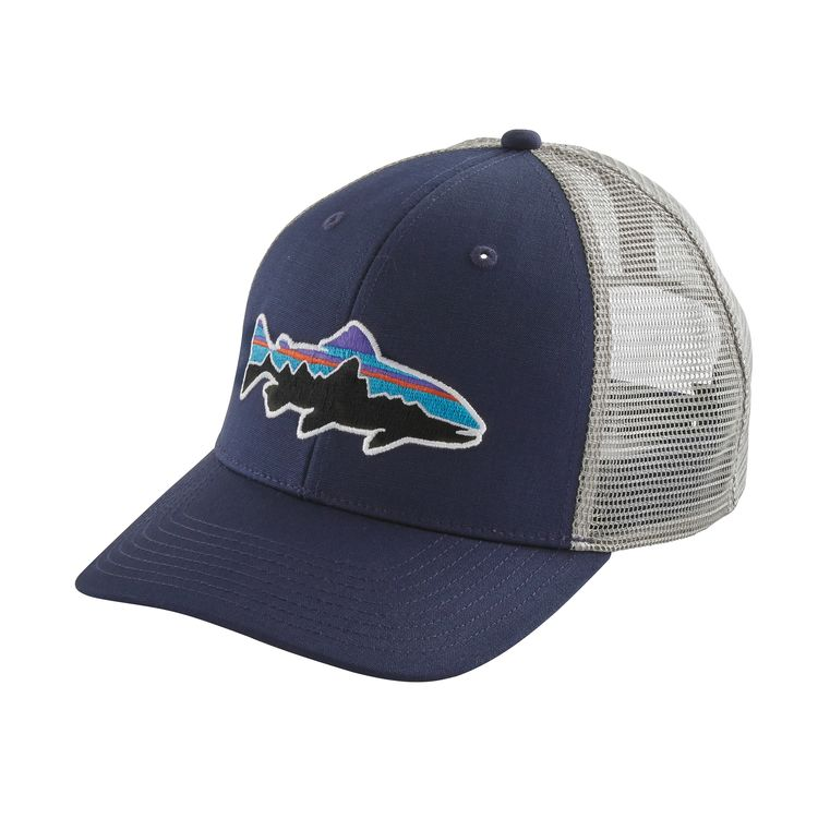 Patagonia fitz roy trout trucker hat classic navy w for Roy s fishing supply