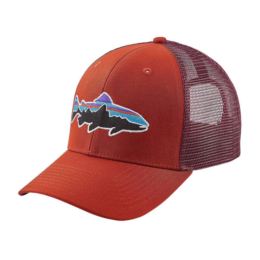 Patagonia fitz roy trout trucker hat roots red for Roy s fishing supply