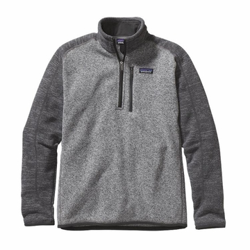 Patagonia Mens Better Sweater 1/4 Zip Fleece Nickel w/ Forge Grey