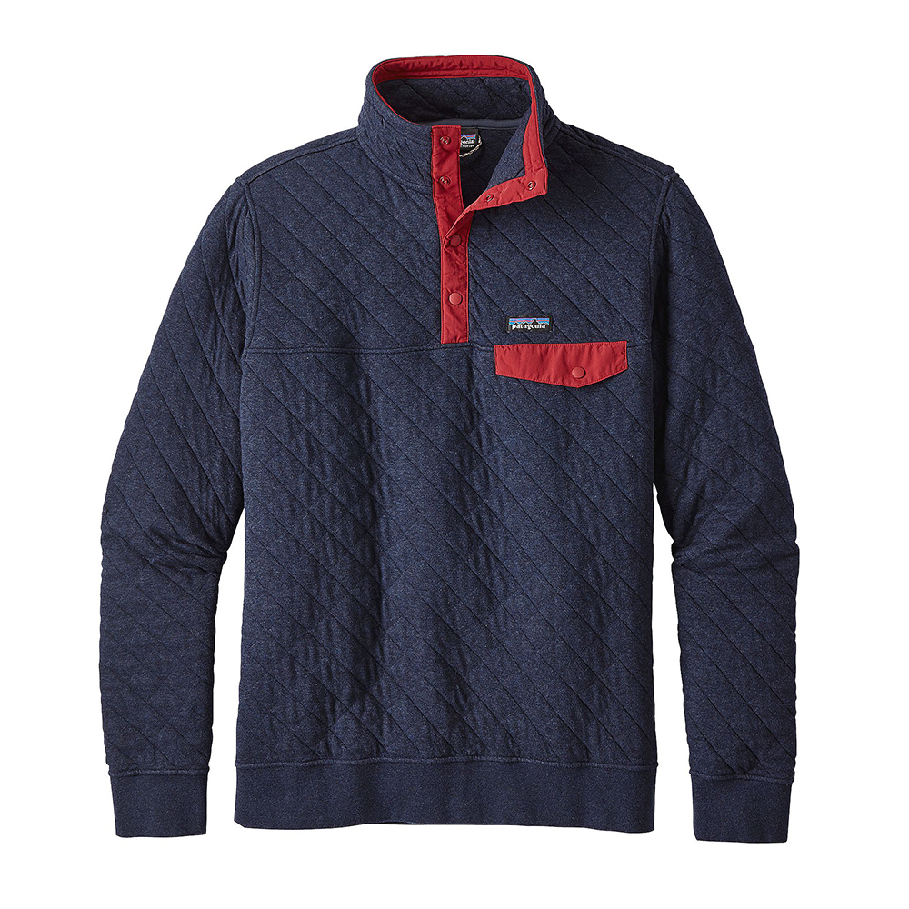 Patagonia Mens Cotton Quilt Snap T Pullover Navy Blue